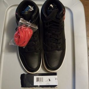 Polo Ralph Lauren Mens Black/Red Leather Vance-11D